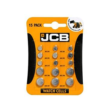 JCB 15 Pack Cell Batteries 3 of each ( AG1 AG3 AG4 AG12 AG13)