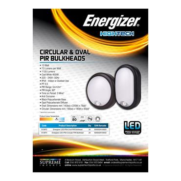 Energizer 15W LED Oval Bulkhead with PIR Sensor | 1824-18