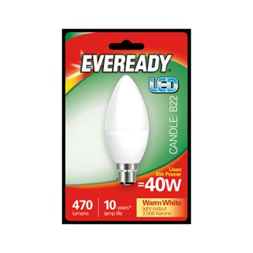 Eveready 6W (40W) B22 Candle LED Bulb | 1826-16