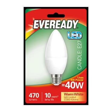 Eveready 6W (40W) E27 Candle LED Bulb | 1826-20