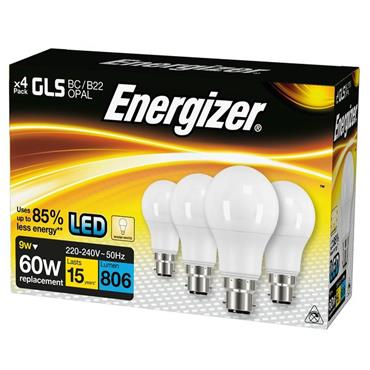 Energizer 9W LED 60W B22 Warm White Bulbs 4 Pack | 1826-02