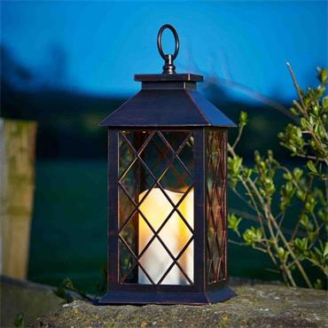 Smart Garden Battery Lit Lattice Lantern - Bronze | 251120