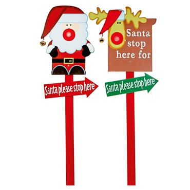 Premier 1 Metre Wooden Santa Stop Here Garden Stake | AC101553