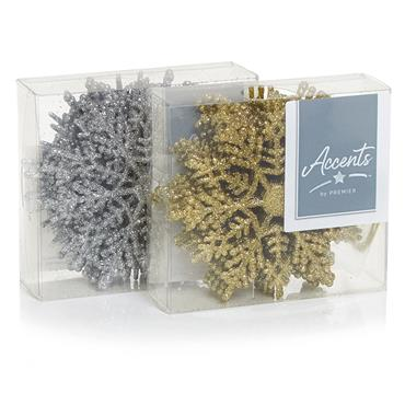 Premier 10 Pack Glitter Snowflakes Silver or Gold Assorted | TD125609GS