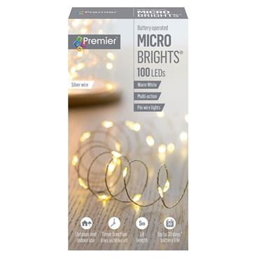 Premier 100 LED Battery Microbrights Lights with Timer - Warm White | FLB151210WW