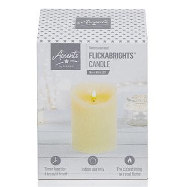 Premier - 18 x 9cm Flickabright Flicker Candle - Cream | FALB192181