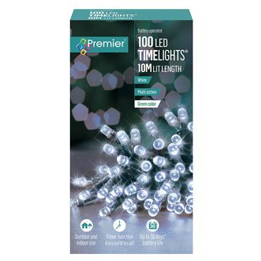 Premier 100 LED Battery Christmas Lights with Timer - White | FLB112383W