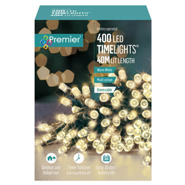Premier 400 LED Battery Christmas Lights with Timer - Warm White | FLB131955WW
