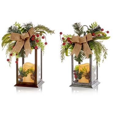 Premier 31cm Lantern with LED Candle and Ribbon Assorted | FLB191598