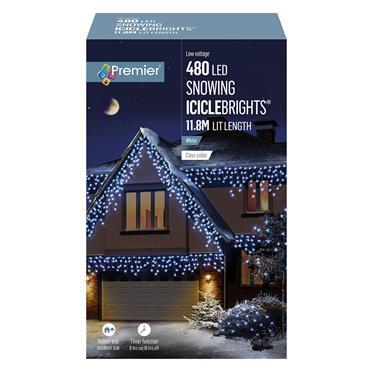 Premier 480 LED Snowing Icicle Lights with Timer - White | FLV162184W