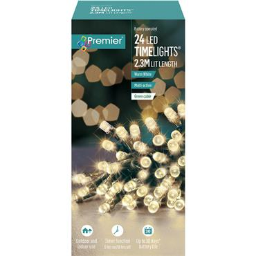 Premier 24 Light Battery LED Lights with Timer - Warm White | LB131957WW
