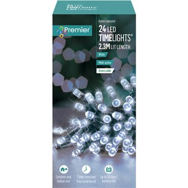 Premier 24 Light Battery LED Lights with Timer - White | LB131957W