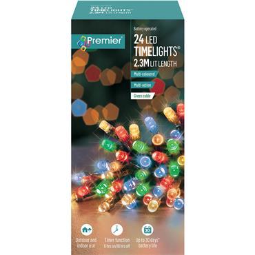Premier 24 Light Battery LED Lights with Timer - Multi Colour | LB131957M