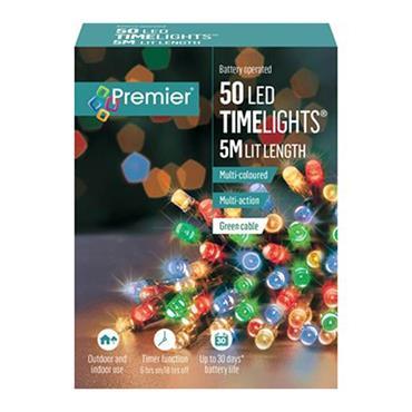 Premier 50 Light Battery LED Lights with Timer - Multi Colour | LB112382M