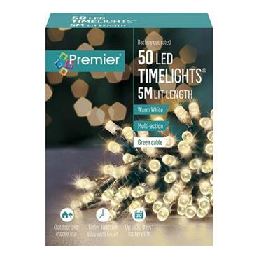 Premier 50 Light Battery LED Lights with Timer - Warm White | LB112382WW