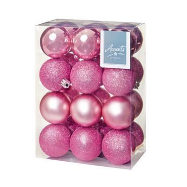 Premier 60mm Multi Finish Balls Baubles 24 Pack - Pink | TD126241DUP