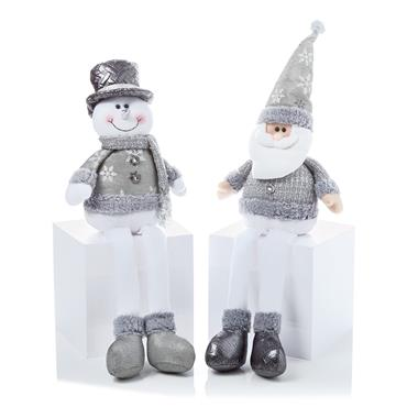 Premier 56cm Sitting Silver Santa or Snowman Assorted | PL165717