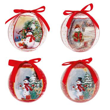 Premier 75mm Snowman Scene Baubles 14 Pack Assorted | TD165360
