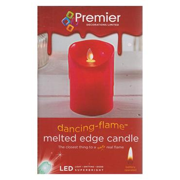 Premier Melted Edge Flicker Candle 13cm x 9cm with Timer - Red | LB183015R