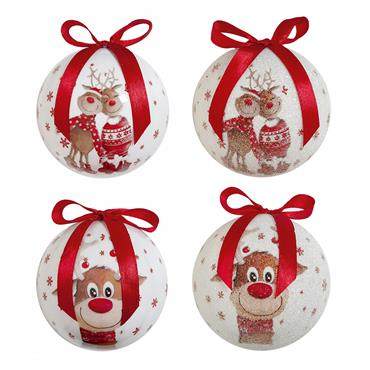 Premier 75mm Cute Reindeer Baubles 14 Pack Assorted | TD185531