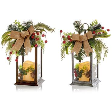 Lantern with LED Candle and Ribbon Single - 31cm 2 Assorted | FLB191598