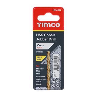 Addax 2mm Ground Jobber Cobalt Drill Bit | HSSCOR2