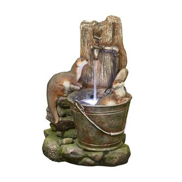 KELKAY PLAYFUL OTTERS WITH LED LIGHTING WATER FEATURE