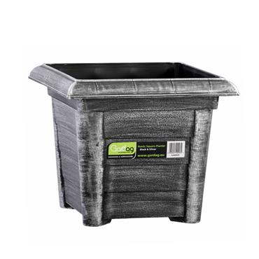 Gardag Rustic Square Planter Black & Silver 27cm | GA400915