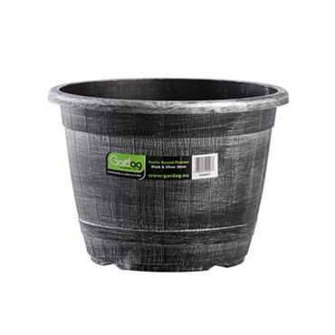 Gardag Rustic Round Planter Black & Silver 30cm | GA400977