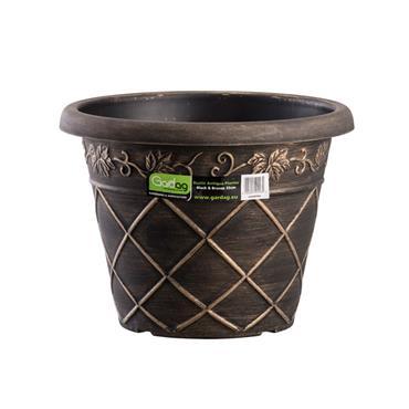 Gardag Rustic Antiqua Round Planter Black & Bronze 35cm | GA400984