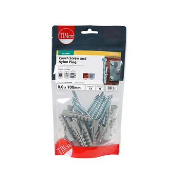 Timco Coach Screw & Nylon Plugs - Zinc 8.0 x 100mm 12 Pack | 08100CSCNB