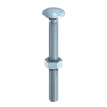 10 X 100 CARRIAGE BOLT & HEX NUT - BZP 2