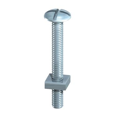 6 X 60 ROOFING BOLT & SQ NUT - BZP 80 PK