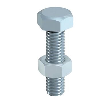 10 X 25 HEX SET & HEX NUT - BZP 35 PK