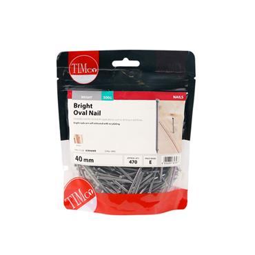 Timco 40mm Ovail Nails 500g | BON40MB