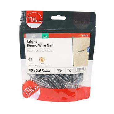 Timco 40mm Round Wire Nails 500g | BRW40MB
