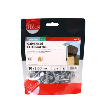 Timco Extra Large Head Clout Nails - Galvanised 3 mm x 30mm 500g | GEC30MB