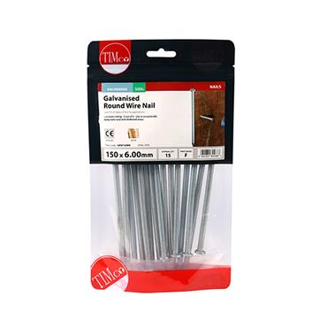 Timco 150mm Galvanised Round Wire Nails 500g | GRW150MB