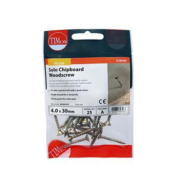 Timco PZ Woodscrews 4.0 x 30mm 25 Pack | 40030CHYP