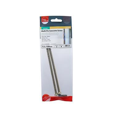 Multi-Fix Concrete Screws - TX30 - Flat Countersunk 7.5 x 150MM 2 Pack | 00150TCONP