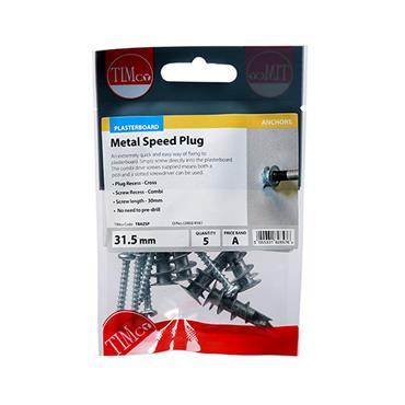 Timco Metal Speed Plasterboard Plugs & Screws - Zinc 31.5mm 5 Pack