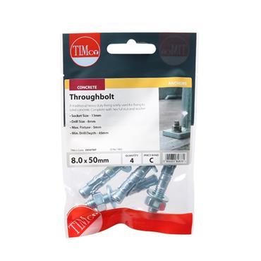 Throughbolts - Zinc M8 x 50mm 4 Pack | 0850TBP