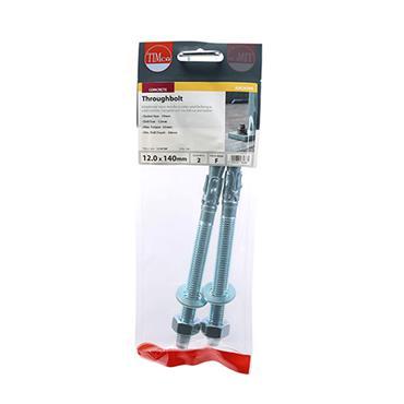 Throughbolts - Zinc M12 x 140mm 2 Pack | 12140TBP