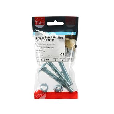 Timco Carriage Bolts & Hex Nuts - Zinc M10 x 75mm 3 Pack | 1075CBP