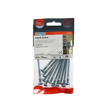 Timco Coach Screws - Hex - Zinc 6.0 x 70mm 10 Pack | 0670CSCP