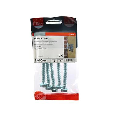 Timco Coach Screws - Hex - Zinc 8.0 x 60mm 5 Pack | 0860CSCP