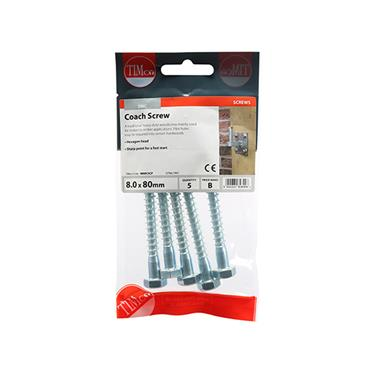 Timco Coach Screws - Hex - Zinc 8.0 x 80mm 5 Pack | 0880CSCP