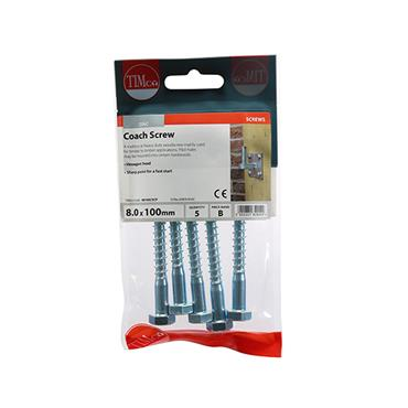 Timco Coach Screws - Hex - Zinc 8.0 x 100mm 5 Pack | 08100CSCP