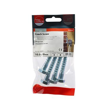 Timco Coach Screws - Hex - Zinc 10.0 x 80mm 4 Pack | 1080CSCP