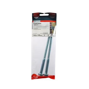 Timco Coach Screws - Hex - Zinc 10.0 x 150mm 2 Pack | 10150CSCP